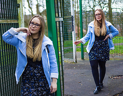 Emma Reay - Everything 5 Pounds Blue Patterned Skirt, Everything 5 Pounds Blue Borg Jacket - BABY BLUE