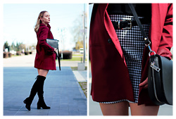 Aleksandra Wądołowska - Lookbook Store Blazer, Zaful Dress - Beauty is Maroon
