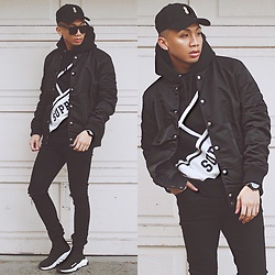 Paul Zedrich - Jj Malibu Obsidian Snapback, Supreme Sweater, Forever 21 Bomber Jacket, Asos Ripped Skinny Jeans, Balenciaga Speed Trainers, Vincent Takao Kendrick Sunnies - Blvck supreme ♣️