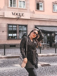 Joyce Wang - Missguided Blazer Dress, Guess Animal Printed Crossbody - Vogue Cafe