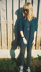 Rowena S - Free People Teal Oversized Shirt, Accessorize Gold Geometric Deathly Hallows Pendant, Converse Black Sneakers - Casual Hallows