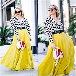 Zia Domic - C/Meo Collective Dotted Top, Chicwish Yellow Maxi Skirt - Yellow & Dots.