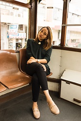Courtney Y - Aritzia Green Blouse, J Brand Black Cropped Jeans, Sam Edelman Loraine Loafers - HK Tram