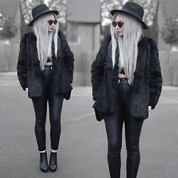 Sammi Jackson - Primark Black Fedora, Zaful Sunglasses, Sheinside Faux Fur Coat, Chickaberry Boutique Lace Top, Oasap Quilted Bg, Asos Double Buckled Belt, Topshop Shiny Jeans, Office Ankle Boots - ALL BLACK