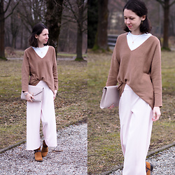 Claire H - H&M Knit, H&M Wide Legged Pants, Tamaris Boots, Högl Clutch - Calm and relaxed