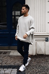 Kevin Elezaj - New Balance Sneakers, Topman Pants, Weekday Sweater - Oversized