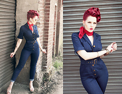 Charlotte S. - Collectif Clothing Mainline Erin Denim Jumpsuit, Red Chiffon Neck Scarf - Trouble in Blue Denim