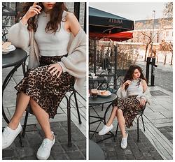 Theoni Argyropoulou - Cardigan, Zara High Neck Top, H&M Satin Leopard Skirt, H&M Sneakers - Leopard Skirt from Day to Night on somethingvogue.com