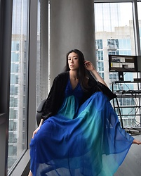 Gi Shieh - Molly Green Black Velvet Cardigan, H&M Blue Tones Maxi Dress - Springtime Drama