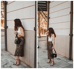 Theoni Argyropoulou - Zara Top, H&M Leopard Skirt, Mango Bag, Stradivarius Sandals - Leopard Skirt from Day to Night on somethingvogue.com