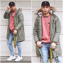 Paul Zedrich - Jj Malibu Obsidian Snapback, Zara Parka, Asos Distressed Sweater, Zara Distressed Jeans, Fashion Nova Do Not Cross Belt, Adidas Yeezy 350 V2 - YEEZY SZN 👟