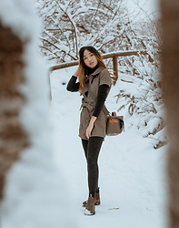 Gabby Chia - Thirfted Black Turtleneck, Camera Bag, Urban Outfitters Romper, Blundstone Blundstones - Snow
