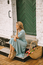 Isabella Thordsen - Other Stories Blue Summer Dress, Espadrillers, Straw Bag - Light blue summer dress for Easter Holiday