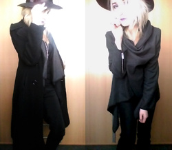 Grim Alex - Aliexpress Wide Brim Hat, H&M Long Black Coat, Aliexpress Fake Amethyst Necklace, Thrifted Grey Something... Cardigan Or Poncho Depending On How You Wear It :D, Gate Warm Jeans - New Dawn Fades