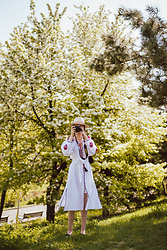Andreea Birsan - White Midi Embroidered Dress, Shoes, Beige Fedora Hat - S P R I N G
