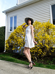 Gi Shieh - Basement Finds Blue And Cream Sun Hat, Goodwill White Sundress, Steve Madden Black Sandals - Just Tryna jump on that spring bandwagon, ya know?