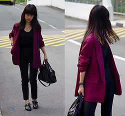 Clara . - Asos Blazer, Bally Bag - Wine
