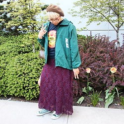 Gemma Buffalo - Free People Maroon Maxi, Converse Velvet Green Sneakers, Fendi Wallet Chain - Peace Keeper