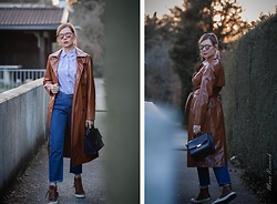 Maria R -  - Dark Blue and Brown Trench