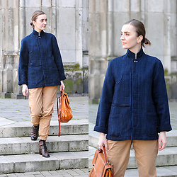 Ryfka (Szafa Sztywniary) - Garbstore Navy Blue Jacket, New Look Camel Pants, Thrifted Vintage Leather Satchel Bag, Russell & Bromley Ankle Boots - Secondhand total look