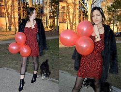 Marija M. - Bershka Red Dress, Bershka Ankle Boots - Red dress