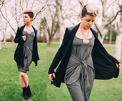 Carolyn W - Anthropologie Leather Shoulders, Black Milk Clothing Tie Waist, Hot Wind Sock - Black Milk's Pic A Day May