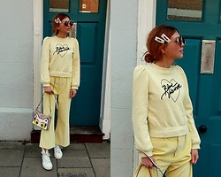 Joanna L - Karl Lagerfeld Bag, Minna Parikka Sneakers, H&M Blouse, Zara Pants, Primark Pearl Hair Clips - Yellow outfit/ minna parikka/ karl lagerfeld bag