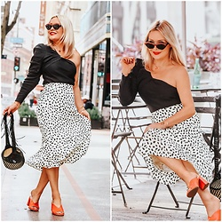 Zia Domic - Chicwish Print Skirt, Zara One Shoulder Top - Leopard/Polka Dot Hybrid