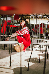 Andreea Birsan - Black Sequin Cap, Flower Earrings, Striped Linen Shirt, Red Trench Style Dress, Ark Bamboo Bag, Red Slingback Shoes - Spring layers