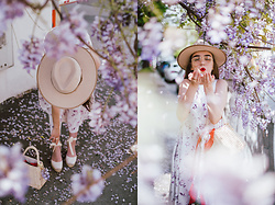 Andreea Birsan - Beige Fedora Hat, Clear Lens Glasses, Wedges, Straw Basket Bag, White Floral Midi Dress, Silk Scarf - Wisteria hysteria