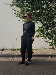 Angharad Jones - Nique Shirt, Nique Trousers, St Agni Slides - Heavy Duty Linen