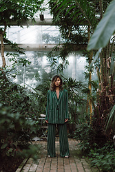 Louise Xin - H&M Green Stripped Suit - Rainforest