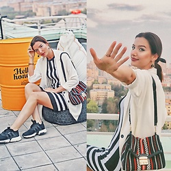 Natasha Karpova - Mango White Blazer, Furla Straw Stripe Bag, Dress, Adidas Ugly Sneakers - ROOF