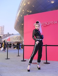 Emmalynn V - Jeffrey Campbell Shoes Transparent Sandals, Dolce & Gabbana Track Pants Joggers, Noe Undergarments Top, Dolls Kill Mesh Top, Moschino Belt Bag/ Fanny Pack, Gucci Glasses - Seoul Fashion Week