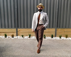 Jared Acquaro - Herring Loafers, Benevento Linen Pants, Albert Pin Collar Shirt, Akubra Capricorn - Summer Tailored
