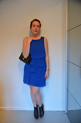 Sarah M - L&L Dress, Carma Booties - Black & Blue