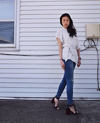 Gi Shieh - Raided Mom's Closet White Polka Dot Blouse, H&M Distressed Blue Jeans, Steve Madden Black Sandals - Restyling Mama's Blouse