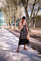 Louisa Moje - (Exact) Black Turban Head Scarf Under $15, (Exact) Opal Layered Necklace Under $10, (Exact) Black Lace Midi Dress Under $30, (Exact) Tan Bamboo Wooden Purse Under $40, (Similar) Gold Stackable Bangles Under $10, (Exact) Tan Brown Open Toe Sandals Under $30, Clear Animal Print Glasses Under $10 - The Best Black Lace Midi Dress under $30