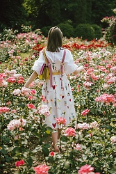 Andreea Birsan - Bag, Puffy Sleeves Top, Printed Midi Dress - Rose garden