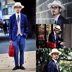 John Kuo - Yoyuu Lab Waterproof Blazer, Syndro Denim Slacks, Ecua Andino Panama Hat, Oringo Loafer - Part of the Blue