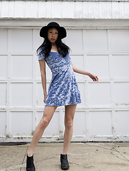 Gi Shieh - Forever 21 Black Hat, Urban Outfitters Crushed Velvet Periwinkle Dress, Matisse Black Booties - Outfit 1: Periwinkle Crushed Velvet Dress styled with Black
