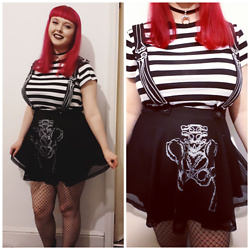 April Willis - Jawbreaker Boned Suspender Skirt, Primark Black Fishnet Tights, H&M Striped T Shirt, New Look Black Crescent Choker - Never trust the living