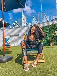 Abimbola Ogunsanya - Lasula Mesh Blouse, Lasula Leather Pants, Uggs Sliders - Summer in mesh