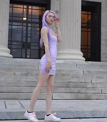 Alyssa Claire - Dolls Kill Charlie Dress, Esqape Glasses, Yru Holo Sneakers - Lavender dreams