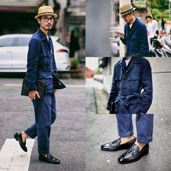 John Kuo - Syndro Safari Jacket Linen Canvas, Oringo Tassel Loafer, Longchamp Handbag, Syndro Nep Denim Slacks - The beauty of the indigo blue