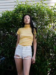 Gi Shieh - Raided Mom's Closet Yellow Turtleneck T Shirt, Forever 21 Distressed White Denim Shorts - JUNE IS FOR YELLOW!