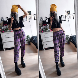 Kimi Peri - H&M Yellow Beanie, Vii & Co. Platform Boots, Vii & Co. Ring Belt, Takeout Order Feeding My Insecurity Shirt, Collusion Purple Plaid Trousers - Purple & Yellow