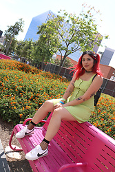 Yuka I. - Green Dress, Fishnet Socks, Nike Cortez - Cortez bby