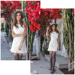 Jenny Mehlmann - Amazon White Lace Dress, Aldo Over The Knee Boots, Urban Outfitters Felt Hat - MY NEW FAVE $14 DRESS!!! // thehungarianbrunette.com