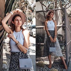 Jacky - Asos Hat, Zara Top, Obag Bag, Boohoo Skirt, Flattered Sandals - How to wear a Black and White Leopard Print Skirt